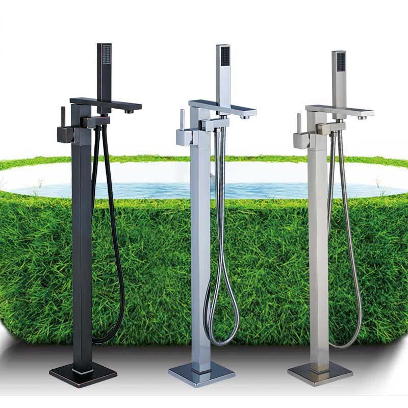 Badewanne Bodenständer Wasserhahn Mischbatterie Einhebelmischer 360 Umdrehung Auslauf Mit ABS Handbrause Wannenmischer Duscharmatur