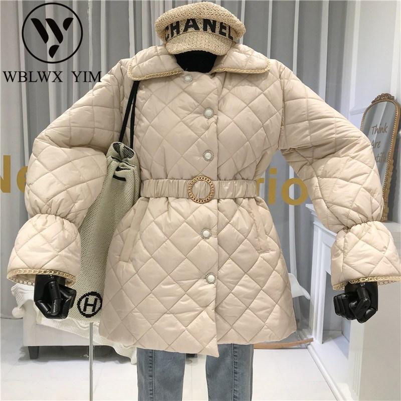 캐주얼 겨울 코트 외투 겨울 자켓 여성 패션 디자인 싱글 브레스트면 코트 벨트 슬림 두꺼운 파카 여성 따뜻한