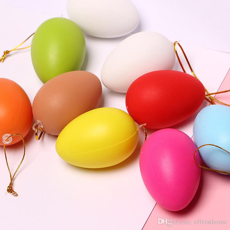Mixed Color 3.8X5.6cm 2019new Easter Decoration for Home Kids Children DIY Painting Egg Craft Toys Plastic Easter Egg