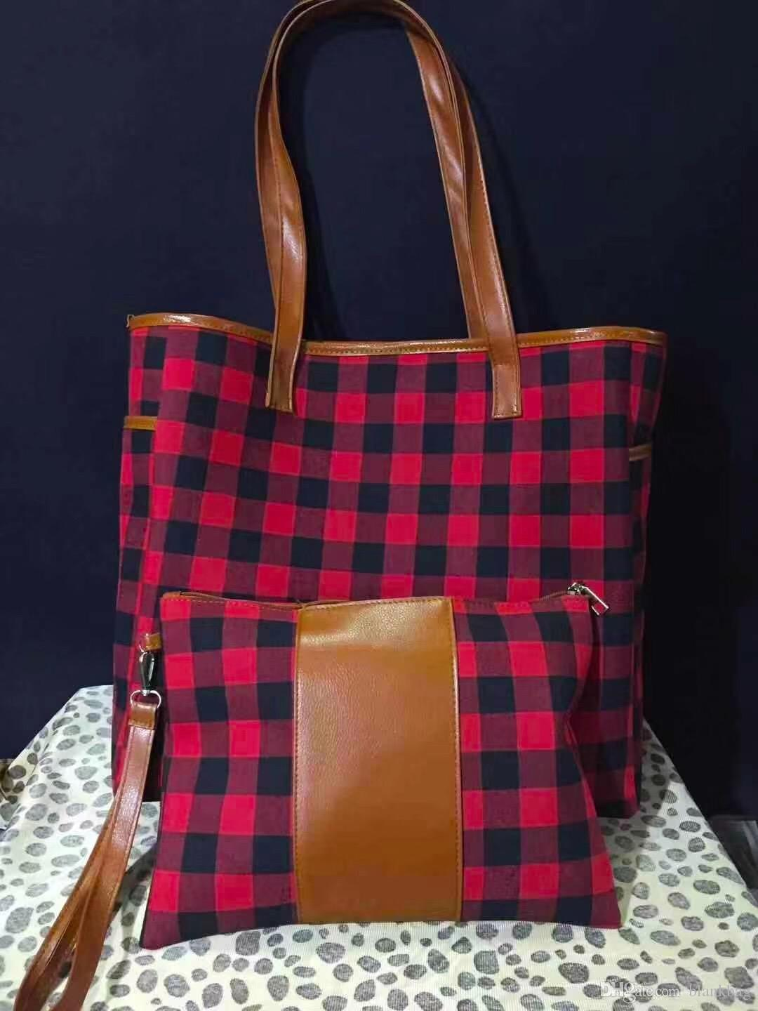 New hot design side pockets buffalo plaid handbag with small zipper wristlet purse sunflower women tote bag set leopard canvas shoulder bag