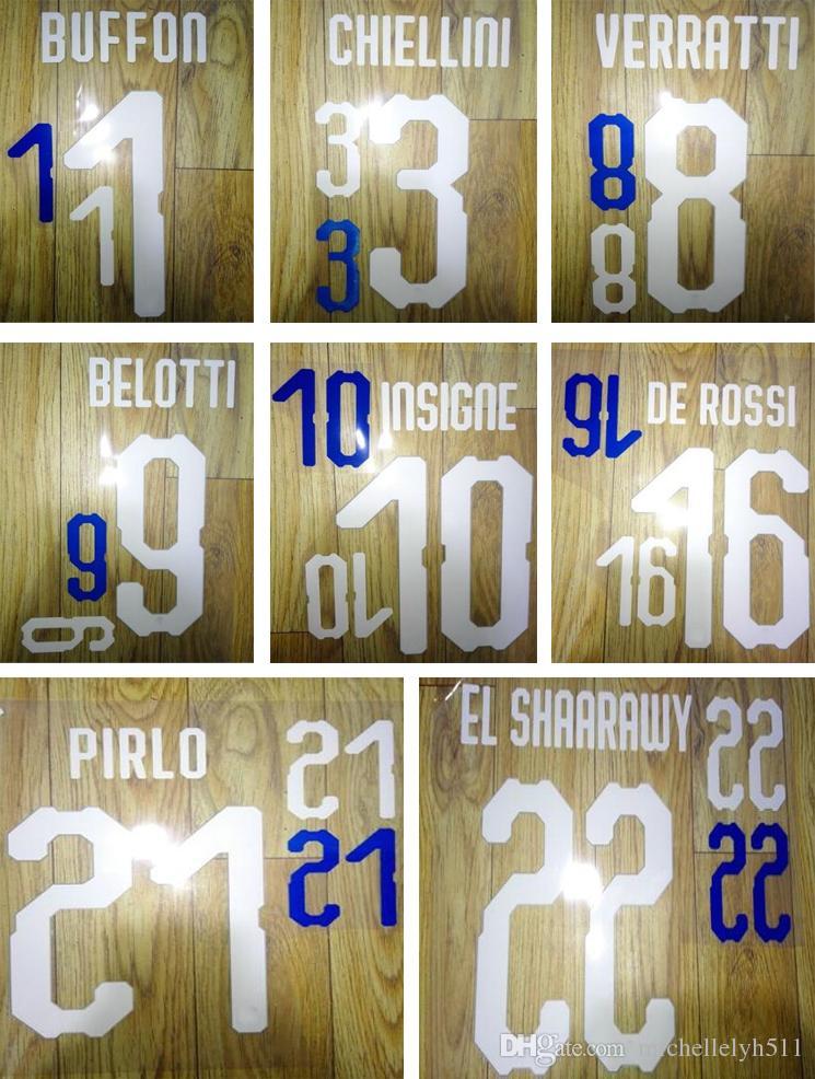 18 19 Italiens imprimant des jeux de football BUFFON PIRLO BELOTTI 2018 autocollant de marquage du joueur italien numérotation imprimée lettres de football