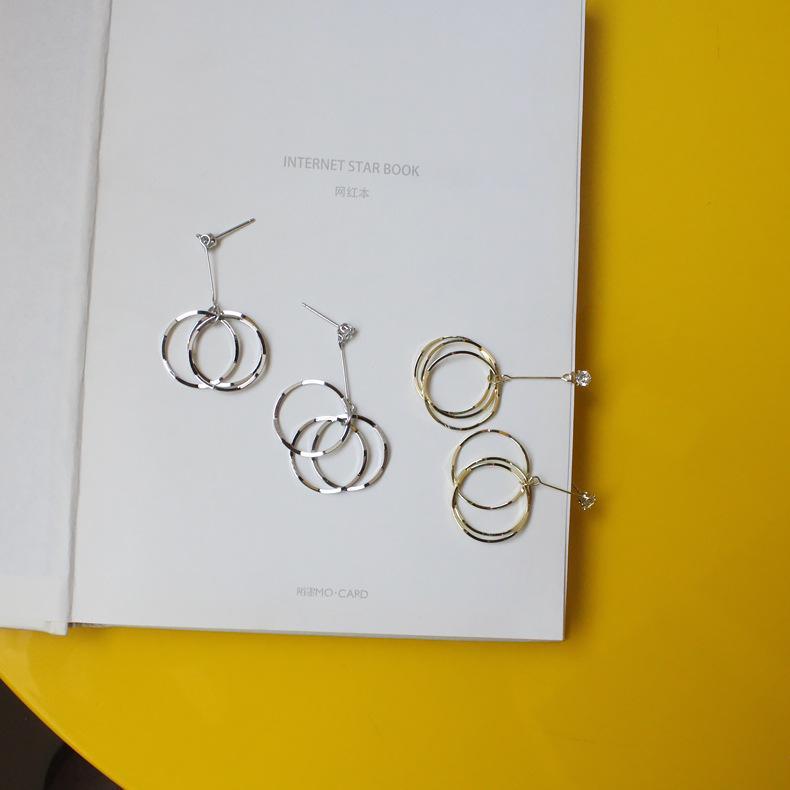 S925 Silber Nadel geometrische Ohrringe Anhänger irregulären Ohrringe glänzenden Zirconium langen Stil einfach 152