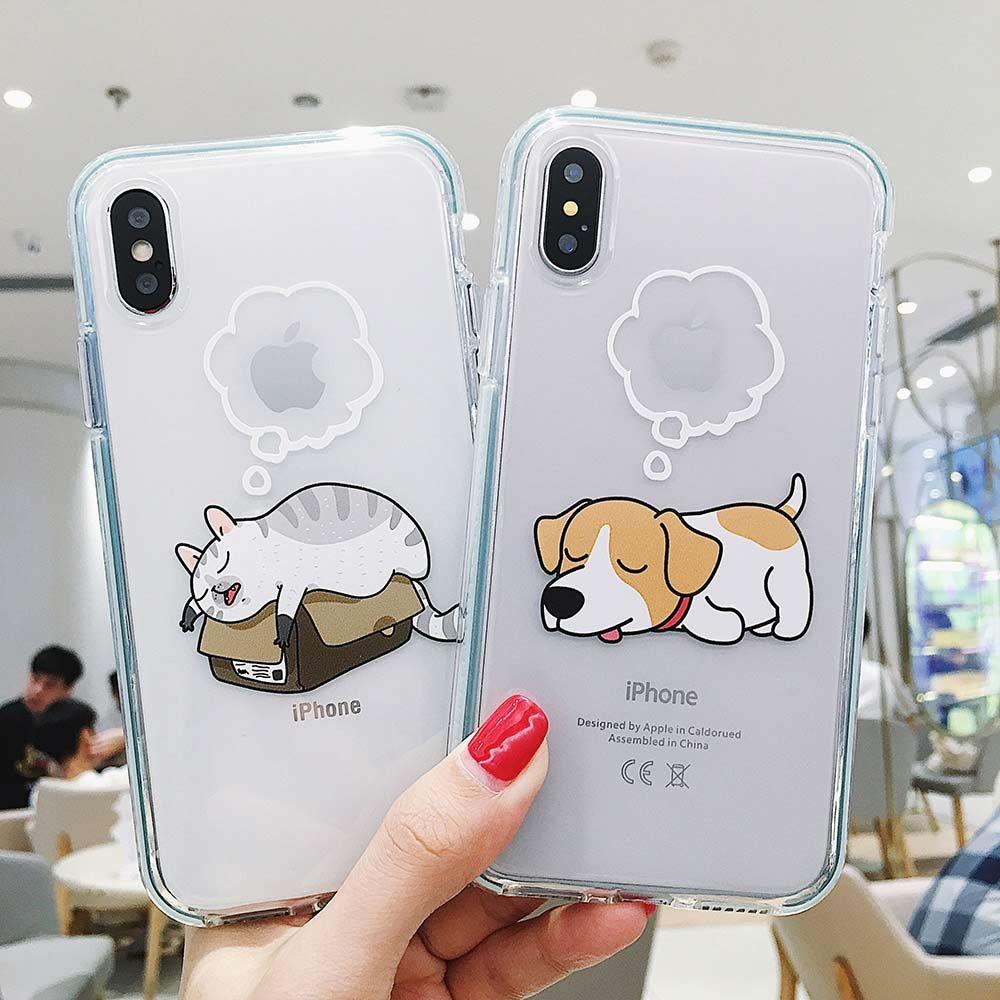 gato cão Moda Pet suave TPU Transparente Telefone para IPhone 11 pro Max 11Pro X XS XR 8 8plus 7 7plus 6 6s Proteja antidetonante Tampa