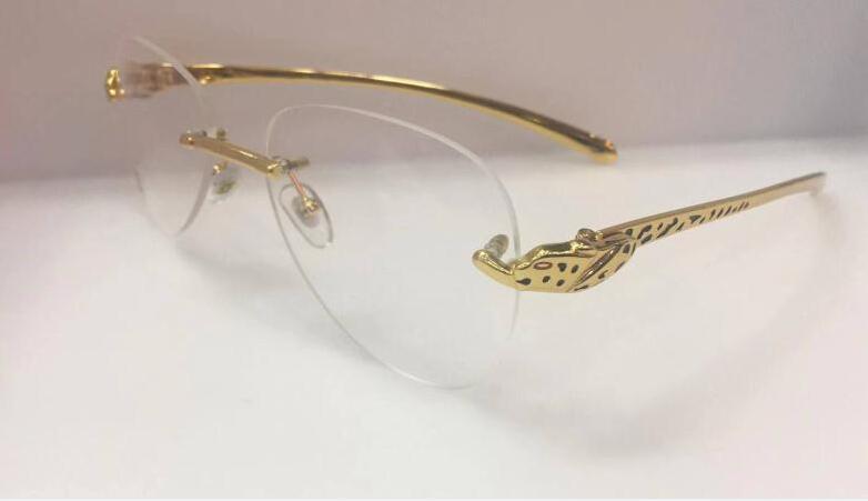 النمر الفاخرة النظارات الشمسية قرن الجاموس نظارات الرجال والنساء بدون شفة النظارات الذهبي الفضة الفهد عدسة واضحة أطر البصرية والنظارات نظارة