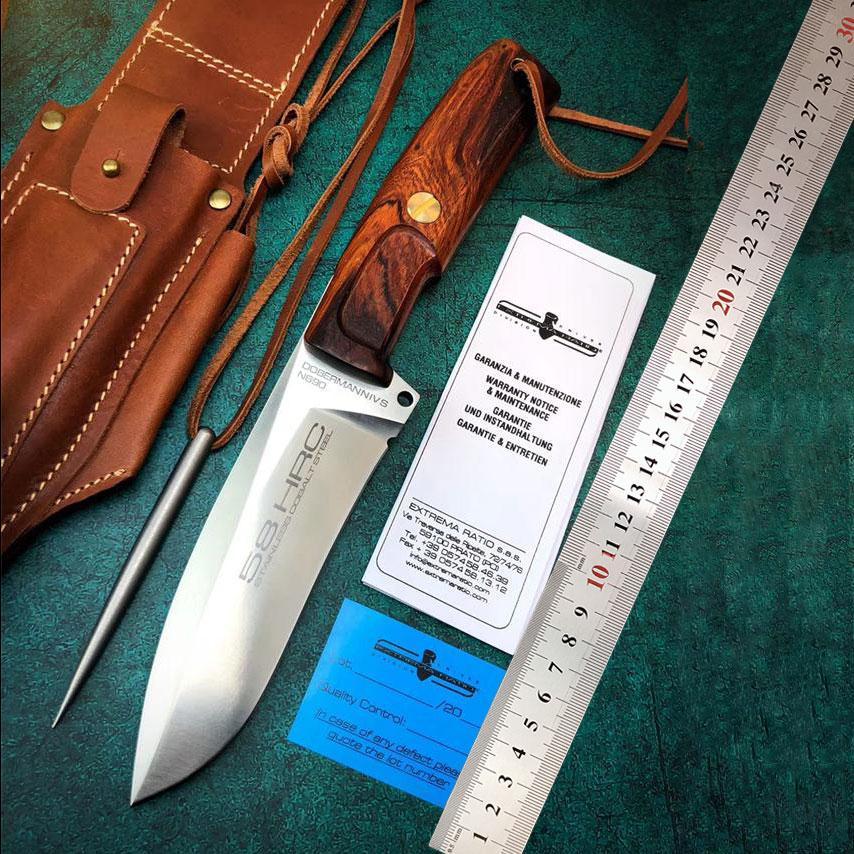 극값 비율이 도베르만 핀셔 IV 고정 블레이드 BHLER N690 STEEL는 59HRC 야외 사냥 칼 전술은 EDC 도구를 나이프 블레이드