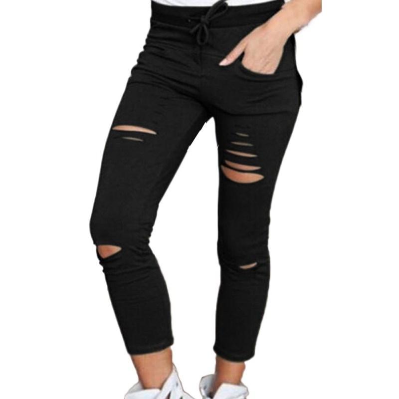 Jeanshosen Frauen dünne Cut-Bleistift-Hosen mit hohen Taille Stretch-Jeans-Hose Baumwolle Zu Schlank