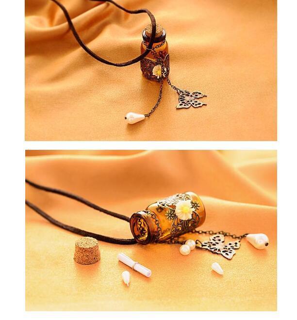 Vidro Desejando garrafa Aromaterapia Óleo Essencial Difusor Colar medalhão pendente corda de couro de jóias Pérola colar de corrente por Mulheres