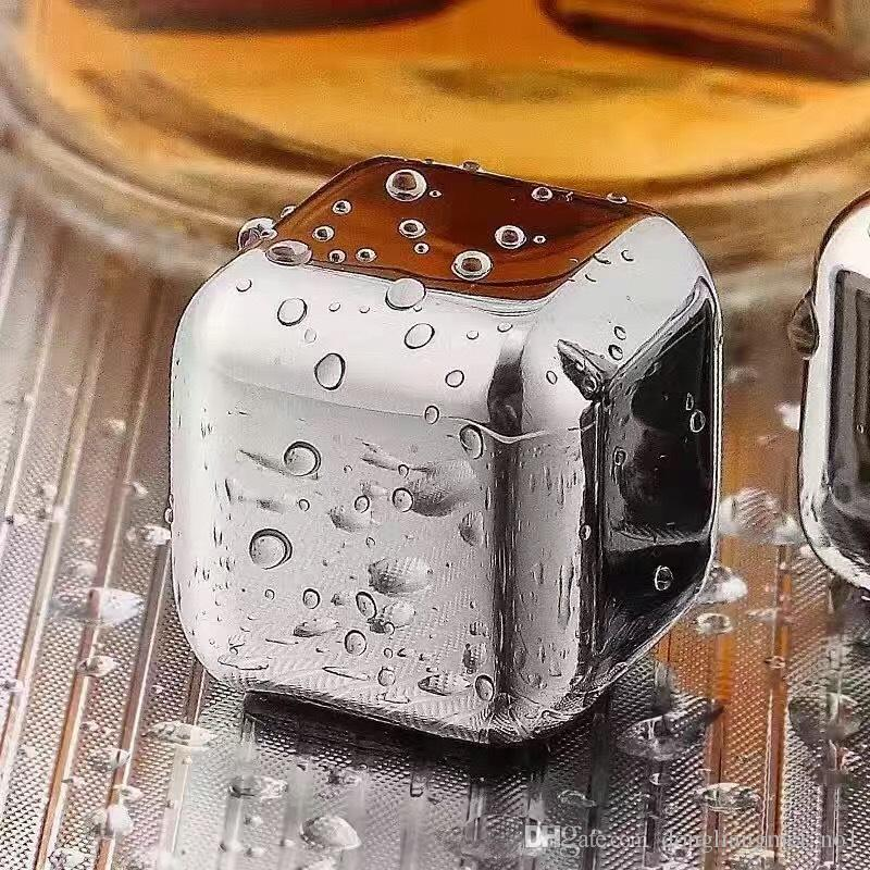 Stainless Steel Ice Cube Wine Whiskey Beer Cooler Stones Rock Soapstone Glacier Rock Beer Freezer Chillers Drink Cooler Cube 100pc wn671C