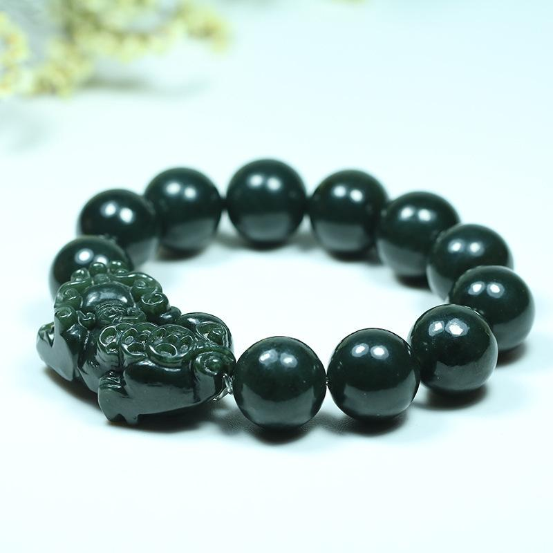 Perles Hetian Jade naturel de 20 mm Pixiu Bracelet élastique Charm joaillierie Mode homme-femme Sculpté à la main Cadeaux Amulet