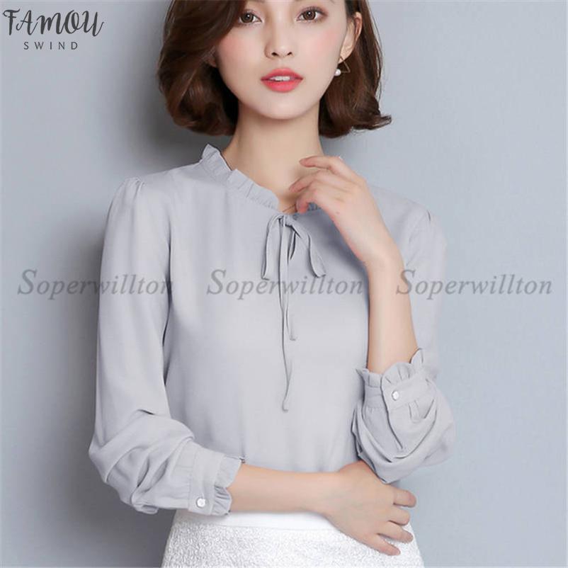 2020 Nuovo femminile camicette camice chiffon delle donne camicetta a maniche lunghe Ruffle Collare Fashion Tops Abbigliamento Donna Plus Size Xxxl
