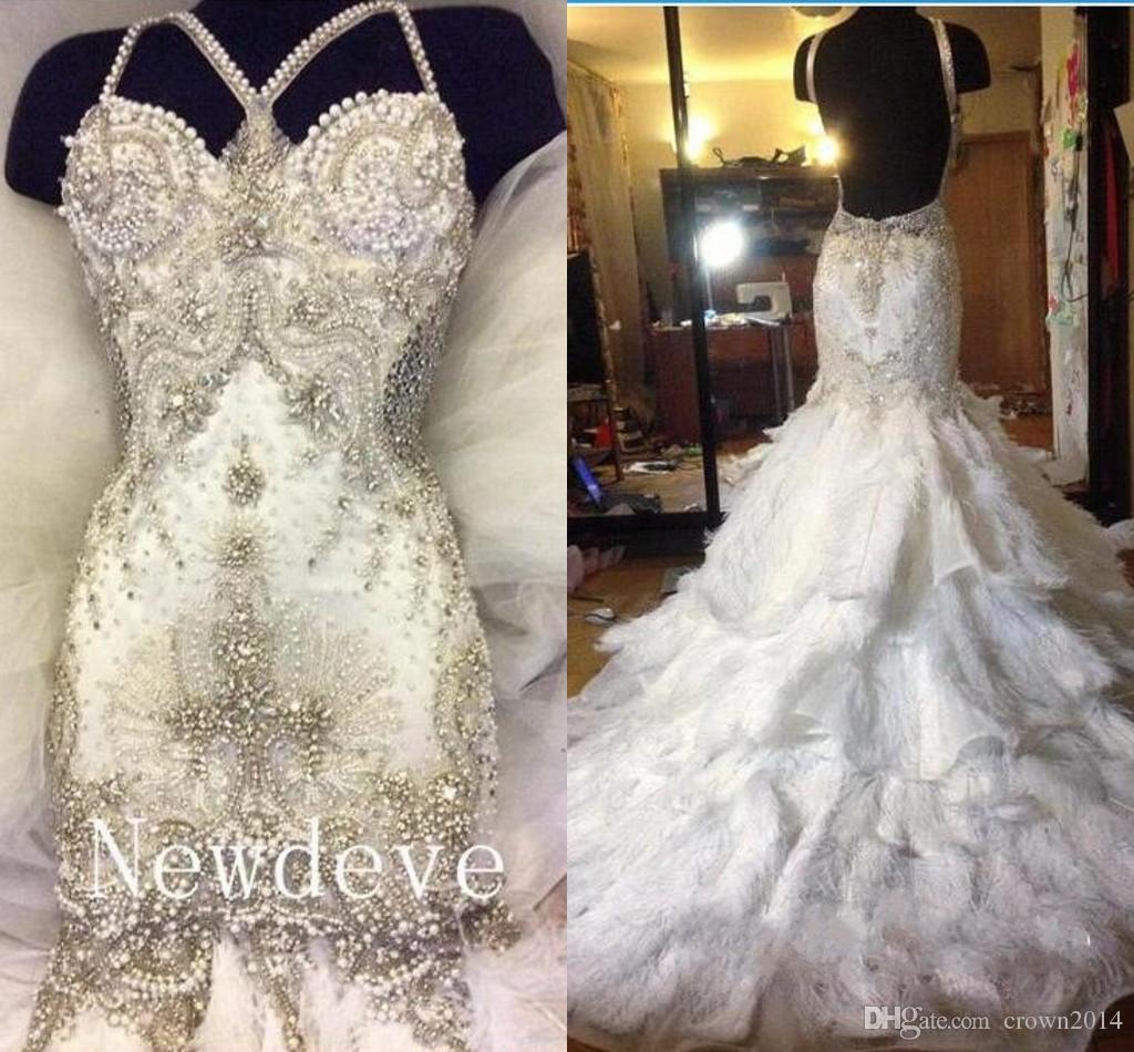 2021 브랜드 디자이너 럭셔리 크리스탈 인어 웨딩 드레스 깃털 계층화 된 구슬 끈 백리스 섹시한 Vestido de Novia 고품질 사용자 정의