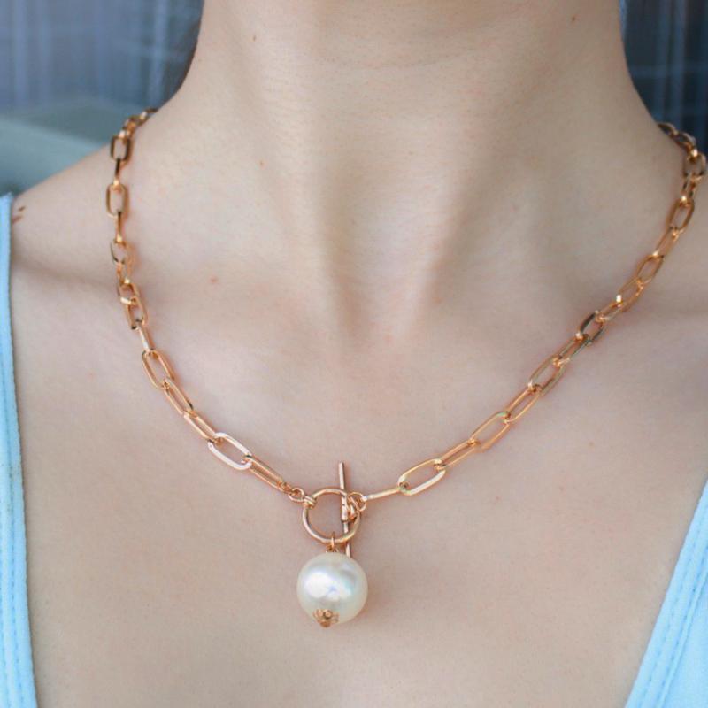 Collar Gargantilla gótico falsa perla colgante para las mujeres punk de perlas de imitación boda del lazo del color oro con cadena larga del collar de la joyería