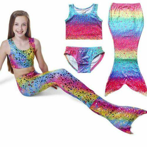UK Girl Swimmable Mermaid Tail Bikini Swimwear Sea-maid  Set Swimsuit Costume