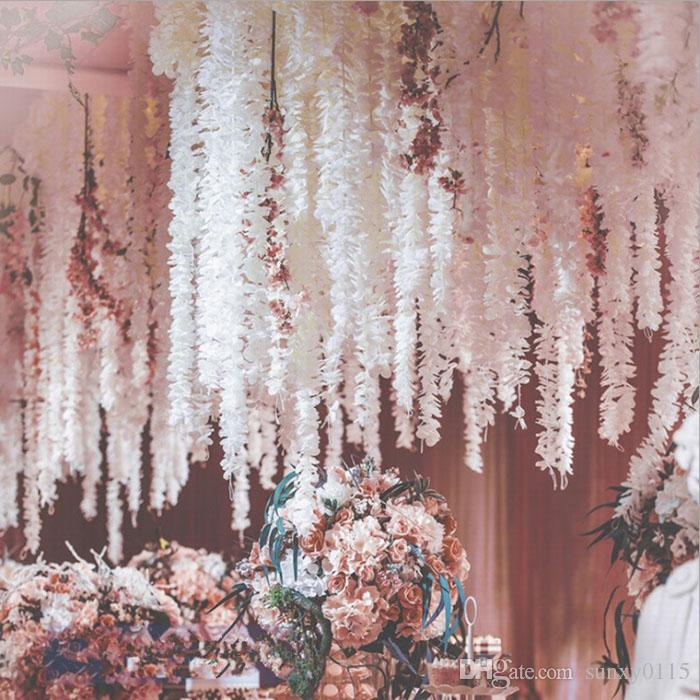 100 cm yapay sahte ipek çiçek asma düğün dekorasyon el yapımı çiçek çelenk düğün / aile / parti dekorasyon çelenk gül