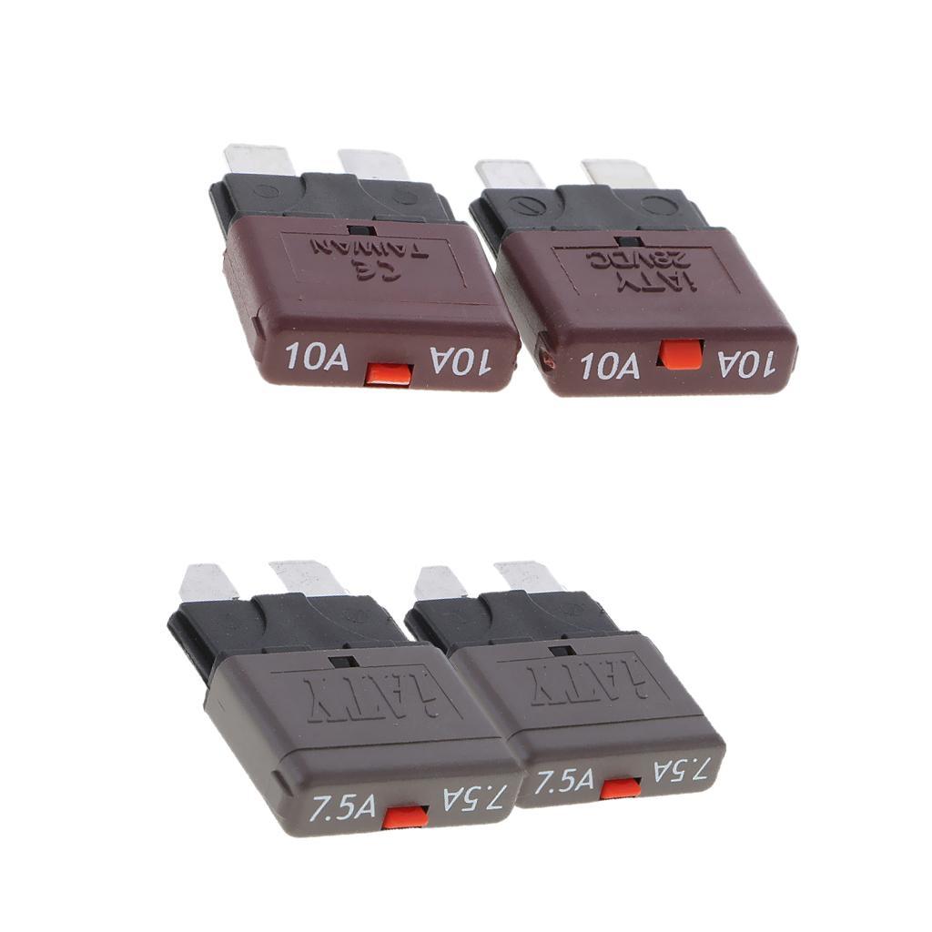 4Pcs 28V 7.5A+10A Car Truck Boat Mini Blade Fuses Manual Circuit Breaker