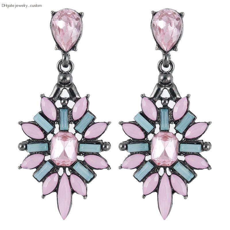 Heißer Verkauf Kristallohrstecker Für Frauen Rosa Blaue Farbe Ohrringe Mode Ohrschmuck Großhandel