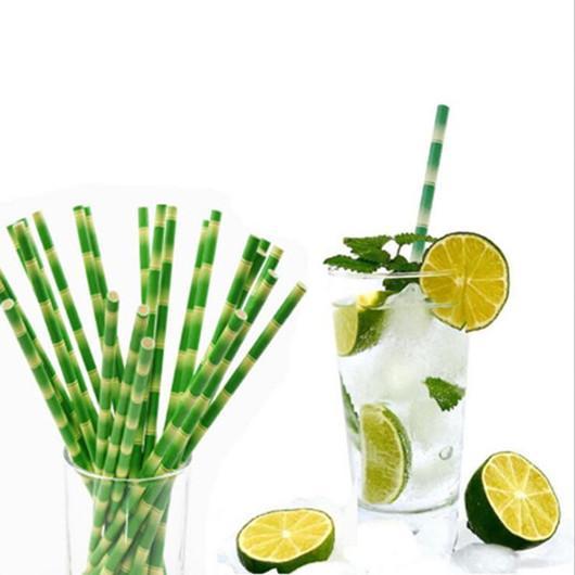 Papierstrohe Umweltfreundlich Milch Stroh Einweg-Bubble Tea Thick Bambus Saft Strohhalm Geburtstag Hochzeit Geschenke 25pcs / lot LXL162AQ