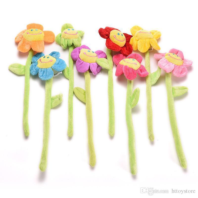 ht Atacado 1pcs girassol dos desenhos animados cortina Clipe Plush flexível Tieback Toy Home Dcor encantadores Meninas do presente Chegada Nova Plush Plantas