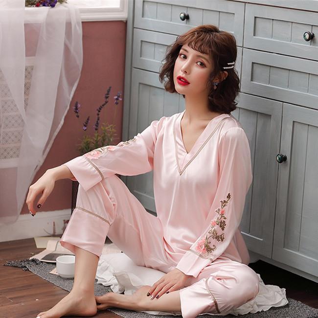 Ropa al por mayor Conjunto para las mujeres Pijamas de verano de manga larga pijama Pijama pijamas atractivos casa Ropa Fdfklak