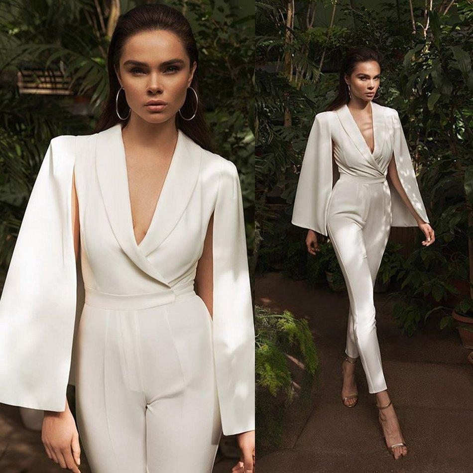 Sexy Deep V Neck Modern Jumpsuit Evening Party Gowns Long Capped Flutter Sleeves Pant Suit Cheap Women Prom Dresses