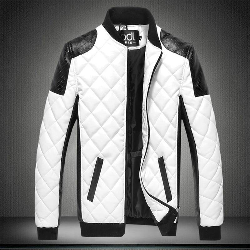 Nouveau Automne Hommes Coton Coton Vestes Noir Blanc Patchwork Veste En Cuir Moto Biker Veste Locomotive Survêtement Mâle Casual Manteau