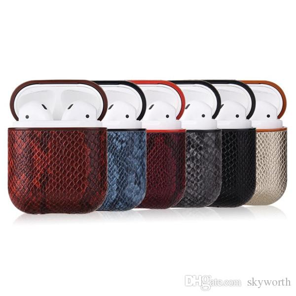 애플 Airpods 1 개 2 이어폰 보호 PU 커버 안티 분실 훅 버클 충격 방지 에어 팟 파우치에 대한 악어 가죽 케이스