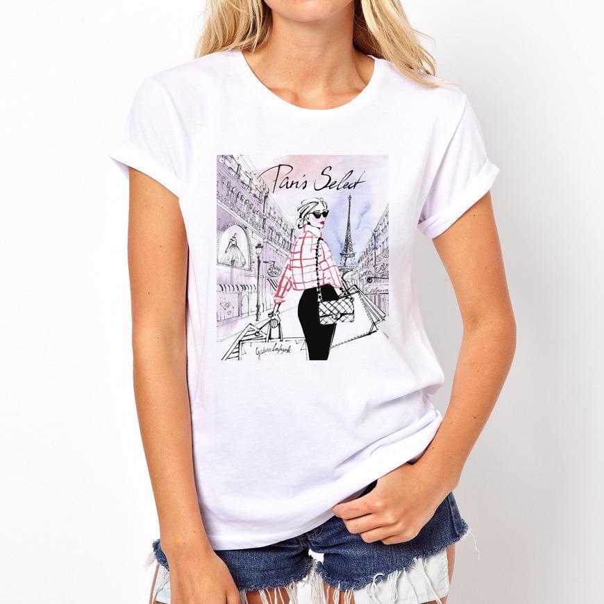 Femmes Lady Print Imprimer Lettre Graphique O T-shirt Été Mode T-shirt Mode drôles T-shirts Harajuku Harajuku à manches courtes Tees décontractés Lovry Tops