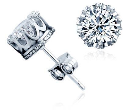 Pendientes de cristal clásico de plata de ley 925 para las mujeres de los hombres de calidad superior Accesorios circón cúbico oído de la joyería