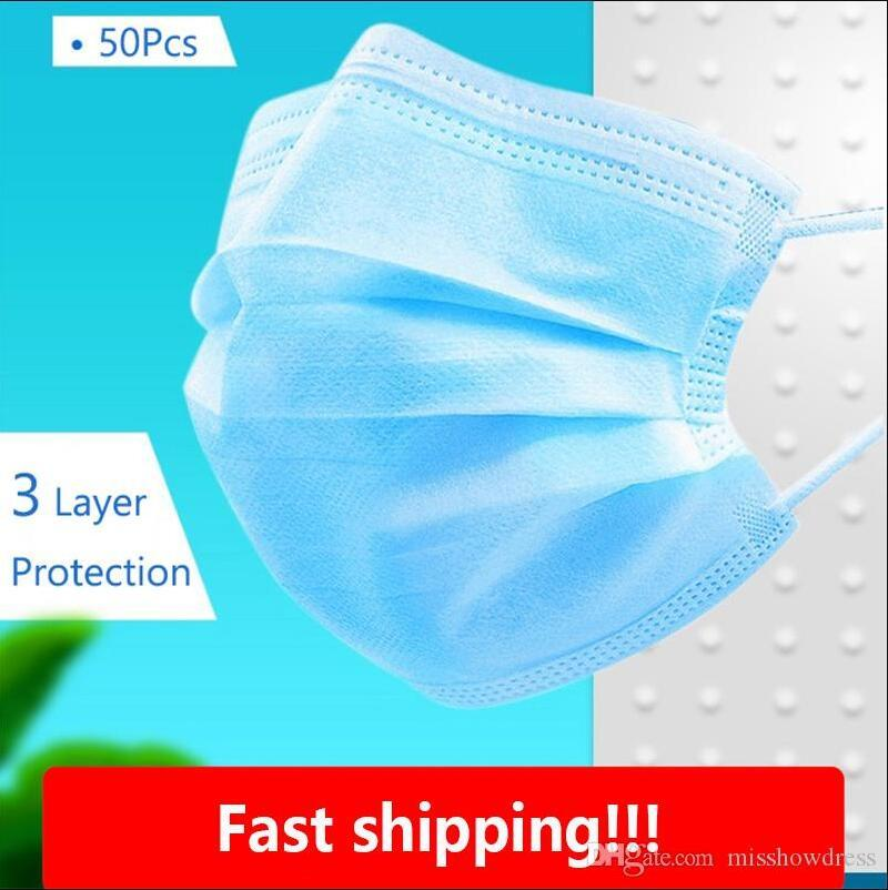 US Stock 50 Pcs Disposable Face Masks Dustproof Mouth Masks PM2.5 mascherine Breathing Safety Masque Face Care Elastic DHL Free Shipping