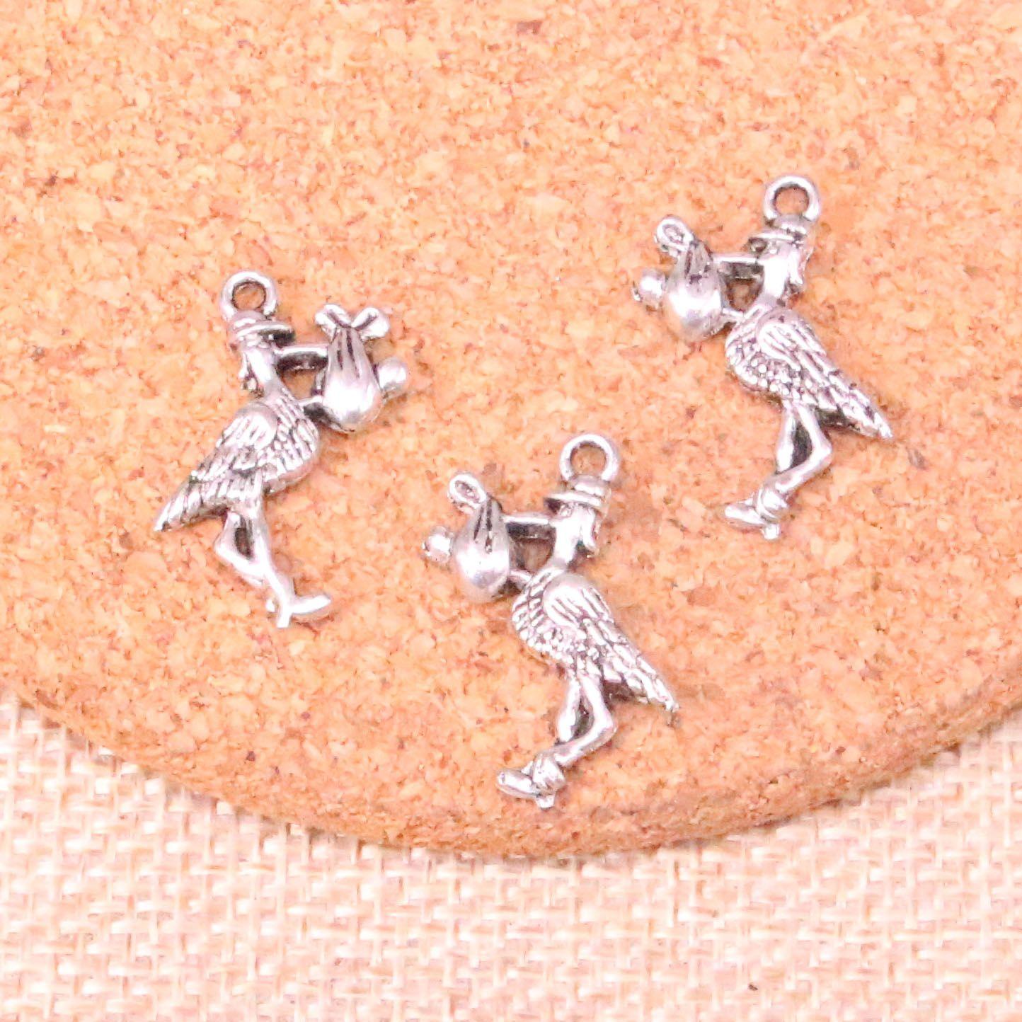 76pcs Charms stork baby bird 23*18mm Antique Making pendant fit,Vintage Tibetan Silver,DIY Handmade Jewelry
