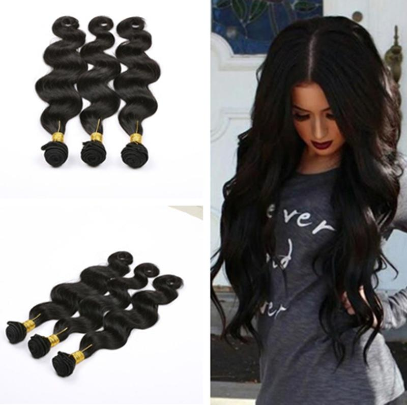 New Remy Brazilian Virgin Hair Body Wave Natural Color 3 Bundles Unprocessed Sew in Weft Remy Human Hair Extensions