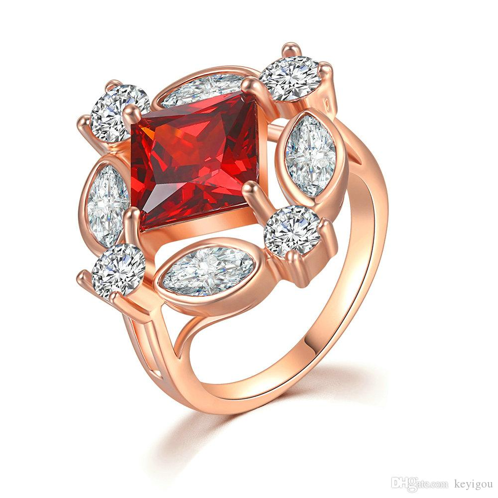 Ring For Women Square Cut Red Crystal Cubic Zirconia Hollow Out Rose Gold Color Gift Fashion Jewelry