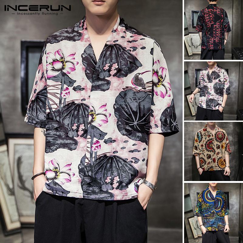 INCERUN Hommes Vintage T-shirt en coton respirant Chemisier Casual manches demi Camisa col en V style chinois imprimé Chemises Tops Streetwear