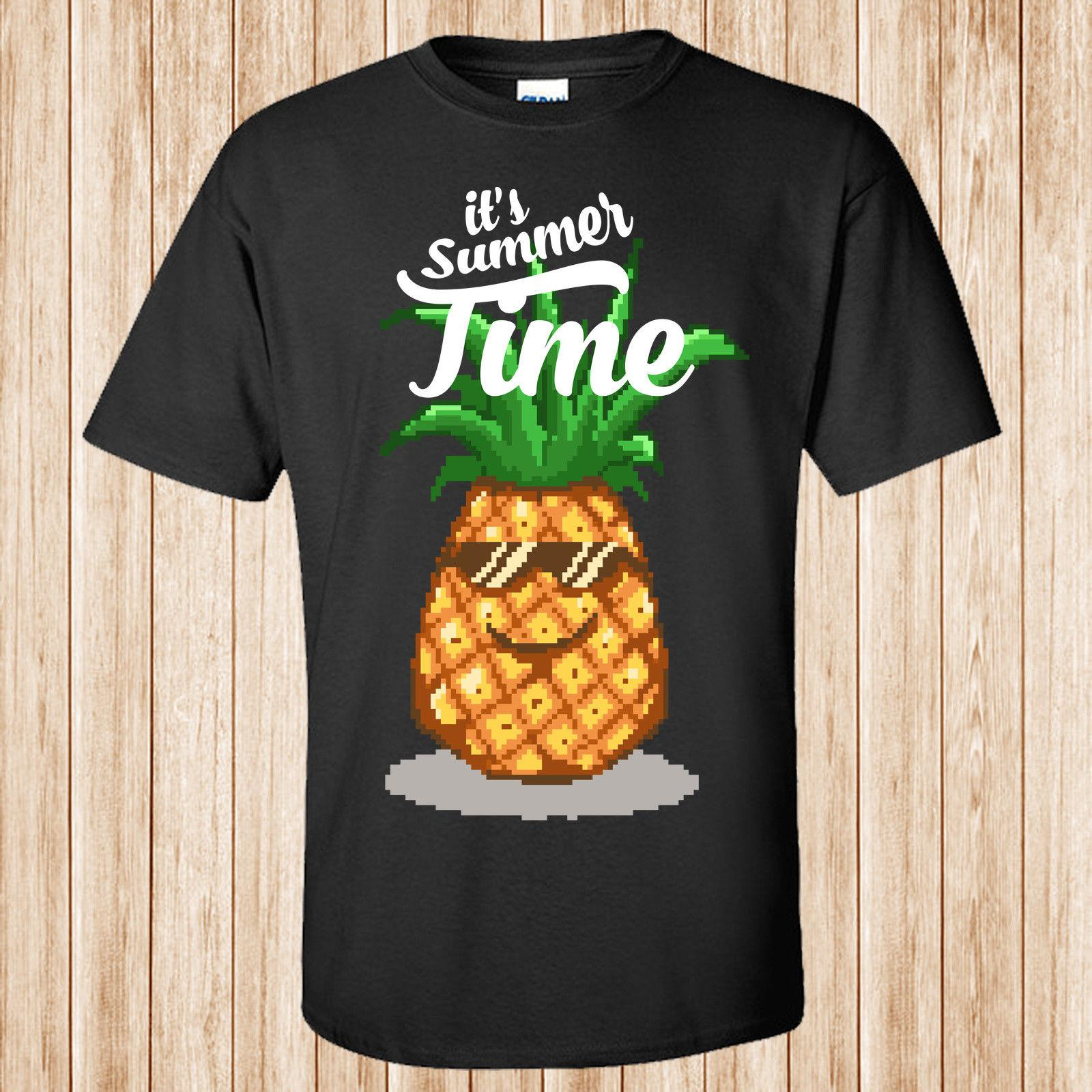 Happy Summer Pineapple Pixel Art T Shirt Retro Style Mans Unique Cotton Short Sleeves O Neck Buy Funky T Shirts Online Ot Shirts From