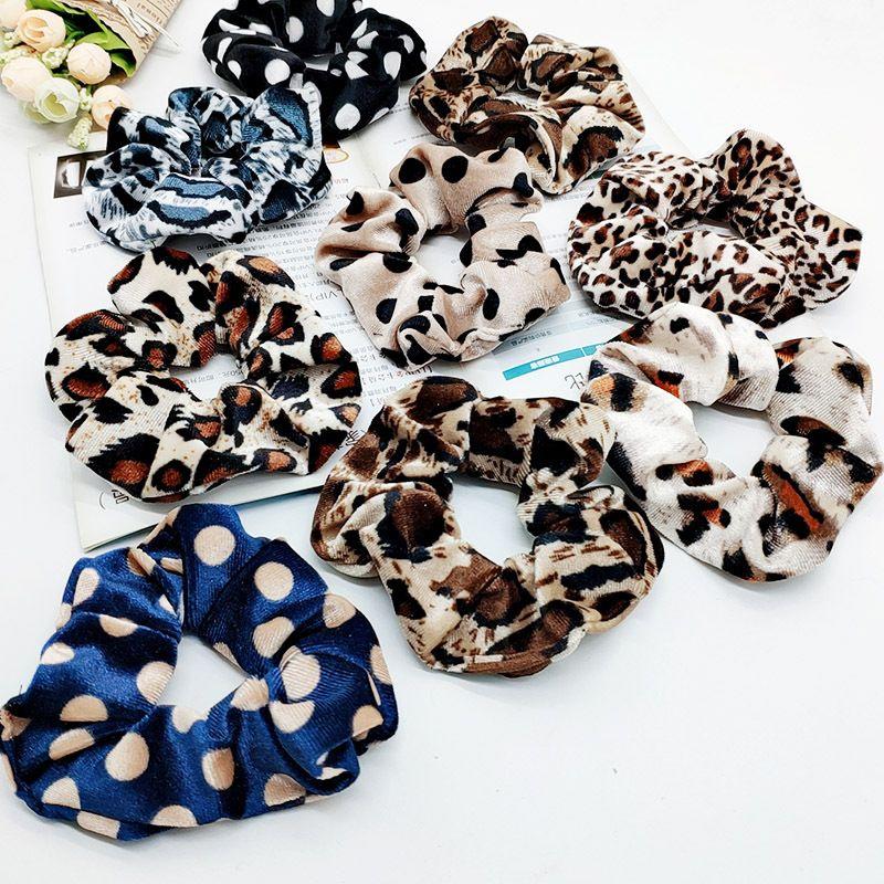 Смешанные цвета Женщины Девушки Velvet Dots Leopard Эластичные кольца Галстуки волос аксессуары хвостик держатель Hairbands резинкой Scrunchies
