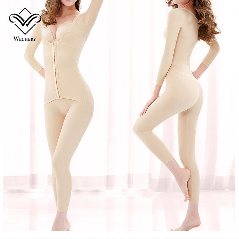 Kadınlar için Wechery Yeni Body Shaper Kadın Zayıflama Tam Boy bodysuit Uzun Kollu Faya Kadın Shapewear Artı boyutu İç Giyim