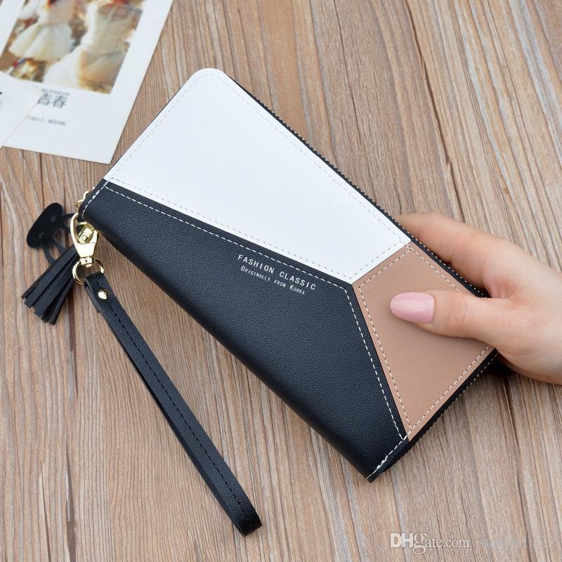De nouvelles dames section femelle long embrayage portefeuille sac version coréenne de la couleur mosaïque sac de téléphone porte-monnaie houppe grande capacité zipper