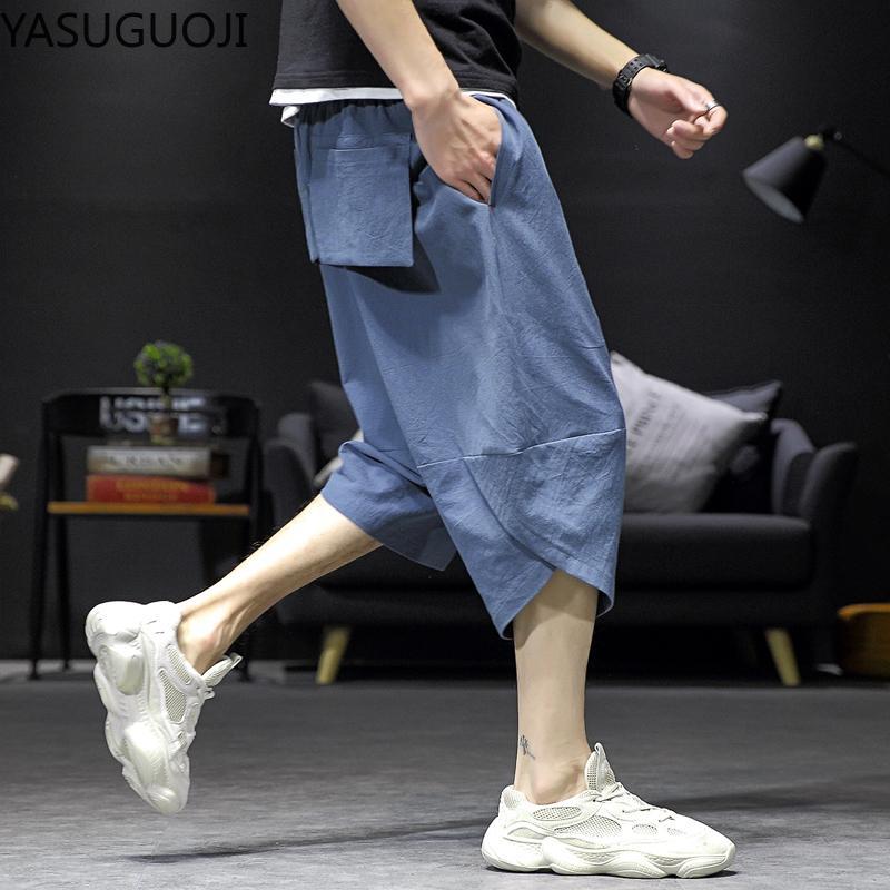 YASUGUOJI Pantalons Cargo Hommes Casual 2020 été nouvelle mode lâche taille élastique Coton Pantacourt Hommes Hip Hop Harem Pants