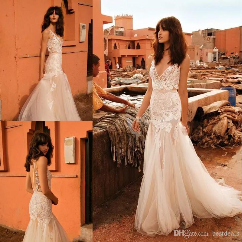 Liz Martínez 2020 aplicaciones Capilla ilusión blusa bohemia sirena vestidos de novia de encaje sin espalda de novia de tren vestidos de boda