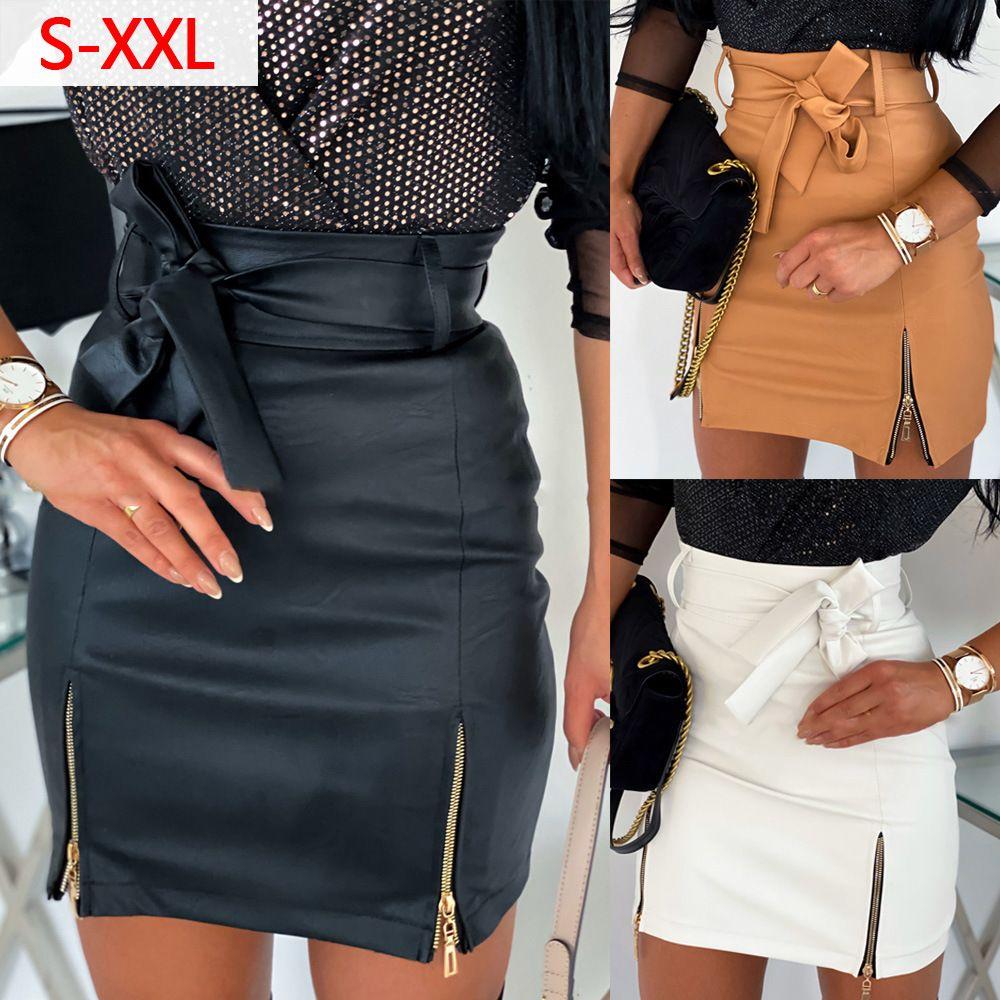 New Fashion Women Skirt Mini Slim Gonna Skirt High Ufficio Ladies PU in pelle PULING Bodycon Gonna