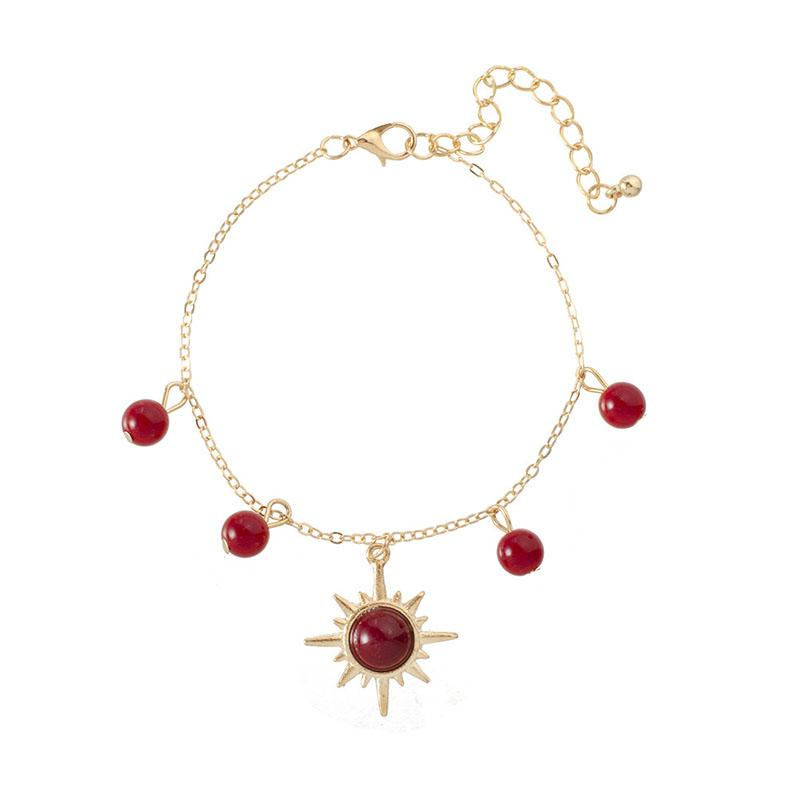Boho Red Bead Bangle For Women Gold Color Star disk Bead Crystal Bracelet 2019 Fashion Charm Jewelry Gift