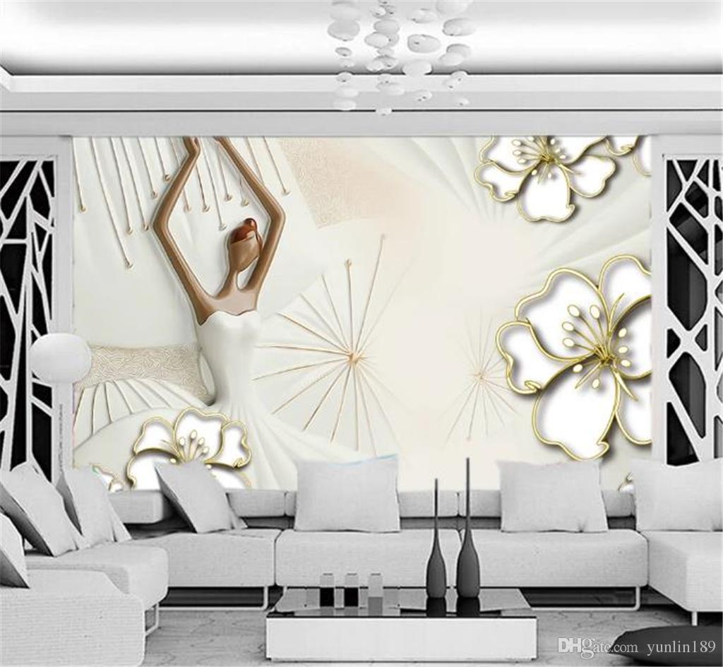 Discount For Cheap Wall Paper Angel Relief 3d Floral Background