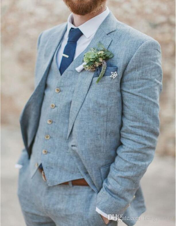 봄 여름 라이트 블루 린넨 남성 웨딩 신랑 턱시도 3 개 2 버튼 들러리 정장 (재킷 + 조끼 + 바지) 비치 웨딩 정장