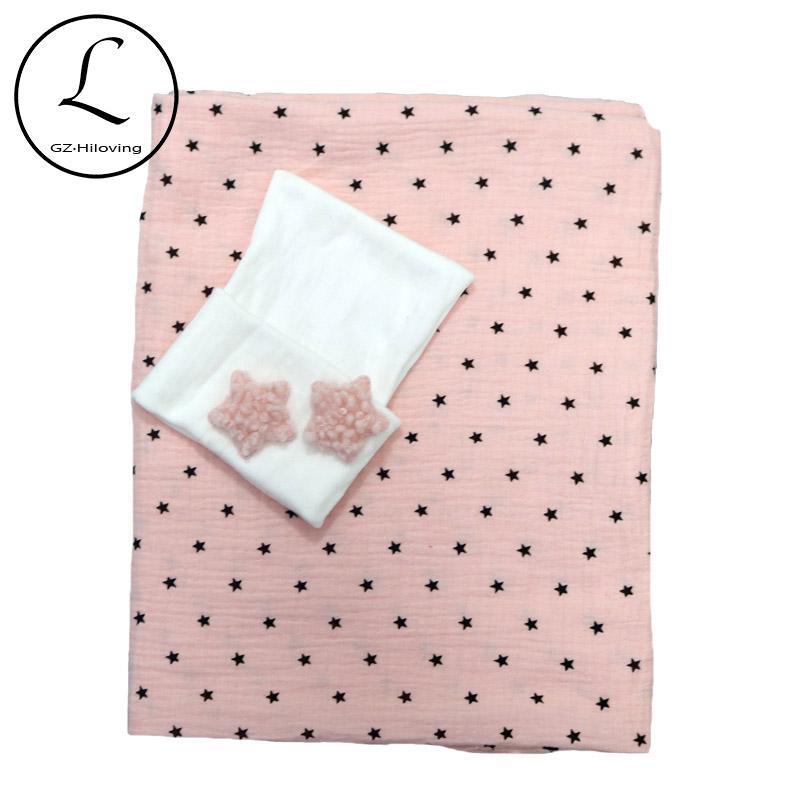 0-3 Monat Nebworn Babydecken Hat Set Soft-Baby-Empfang Swaddle Decke Muslin Baumwollgewebe 4 Schicht Drop