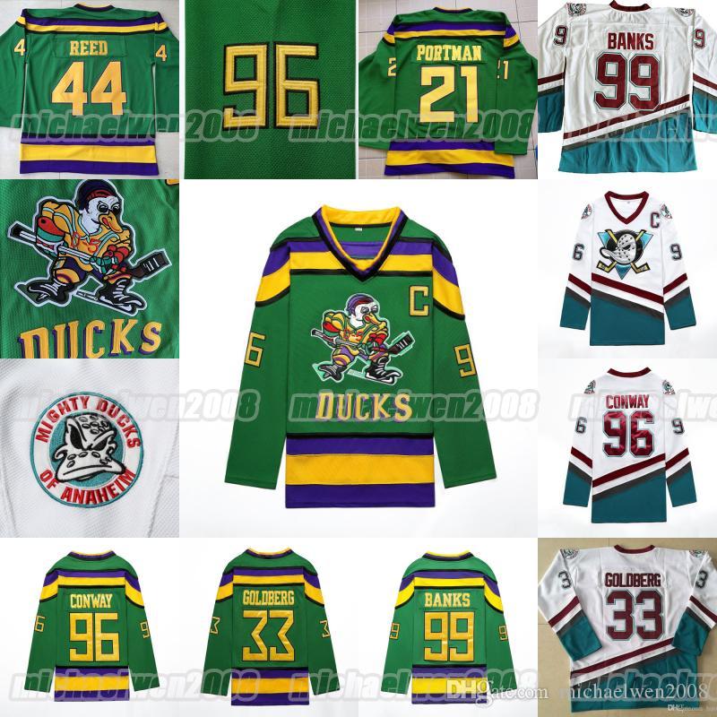 Jersey de film de hockey puissant 66 Gordon Bombay 96 Charlie Conway 99 Adam Banks Greg Goldberg Dean Portman 44 Fulton Reed Double Couts