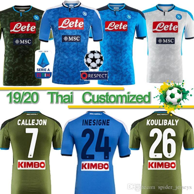 التايلاندية 2019 2020 دوري الدرجة الاولى الايطالي نابولي نابولي بعيدا المنزل لكرة القدم بالقميص نابولي لكرة القدم الفانيلة الزرقاء قميص 19 20 LOZANO هامسيك لاعب INSIGNE قميص