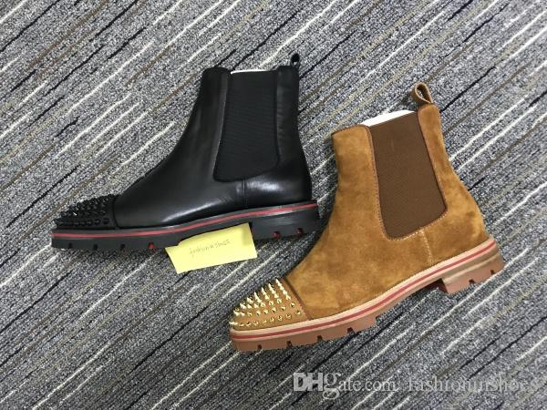 luxurys designers shoes new red bottom sneaker men boot spikes suede leather red sole men shoes super perfect melon Motorcycle ankle boot