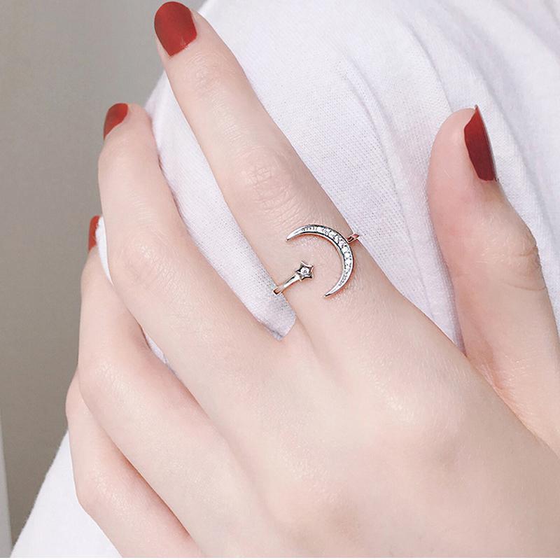 Простой Циркон Moon Star 925 серебряных кольца Sterling для женщин девушки регулируемого размера