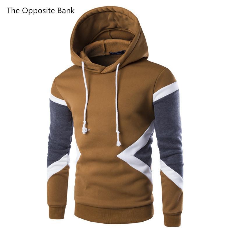 2019 primavera e autunno nuovi uomini europei e americani cuciture geometriche cuciture sportive felpa con cappuccio M-2XL ragazzo hip hop
