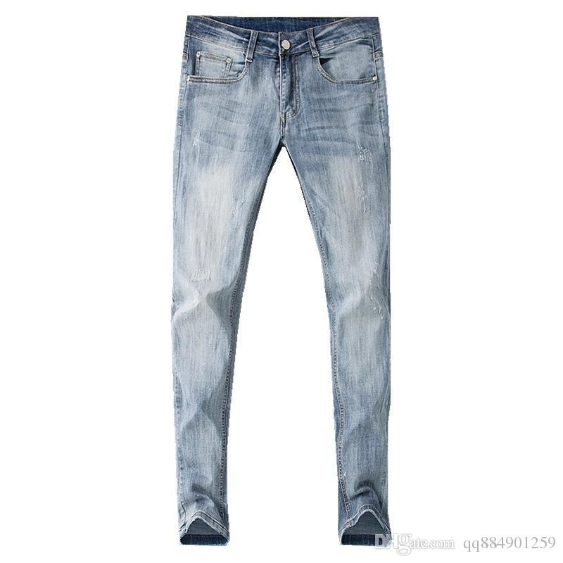 2019 Nuovi jeans da uomo dritti dritti strappati strappati skinny Tiger Head Ricamo causali Pantaloni in denim da uomo Pantaloni slim fit Taglia 29-38
